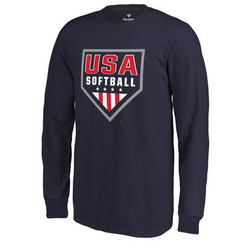 Fanatics Branded USA Softball Youth Navy Primary Logo Long Sleeve T-Shirt