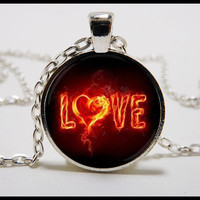 Love  Necklace with  Fiery Heart and silver pendant set -  Valentines Day jewelry -  Heart necklace