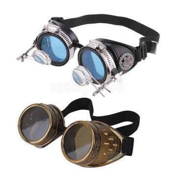 2 Pieces Steampunk Welding Diesel Safety Goggles Glasses Punk Gothic Costume Glasses Welding Punk Biker Gothic Rave Cosplay