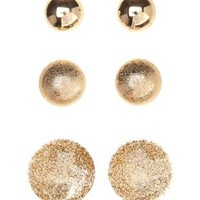 Metal & Glitter Oversized Button Earrings - 3 Pack