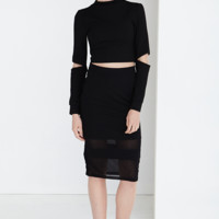 Black Sheer Insert Pencil Midi Skirt | Bodycon Skirt
