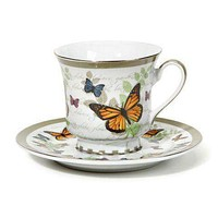 Butterfly Discount Tea Cups and Saucers - Set of 6 Cheap Price!  $5.95 Flat Rate Shipping or add a set for FREE Shipping!