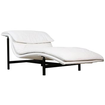 White Leather Wave Chaise Longue by Giovanni Offredi for Saporiti Italia