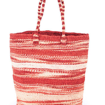 Large Hand Woven Rose Zebra Stripe Sisal Tote Bag