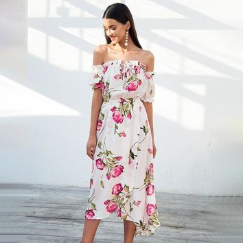 Lace up puff sleeve Off shoulder long maxi dress