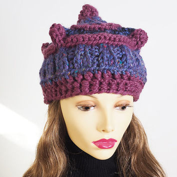 Purple crown - Ready to ship - Fashion knit hat - OOAK hat - Plum crochet hat - Chunky knit cloche - Valentine gift - Multicolor knit hat
