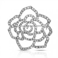 Mothers Day Gifts Pave Clear Crystal Outline Flower Brooch Rose Pin Silver Plated