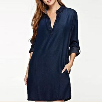 Women Fashion S-5XL Plus Size V Neck Plunge Low Cut Sexy Denim Blue Shirt Dress