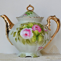Lefton Green Heritage Teapot by CollectiveHeart on Etsy