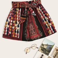 Geo Print Belted Shorts