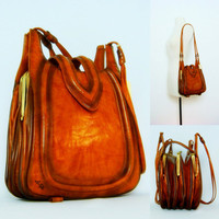 1970s vintage purse / brown shoulder bag / by BabesinVintageland
