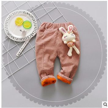 2017 autumn and winter new girls corduroy pants female baby plus cashmere trousers baby warm pants children's pants 0-4T