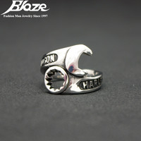 925 Sterling Silver Punk Biker Wrench Man Open Rings Fine Jewelry Adjustable Finger Ring