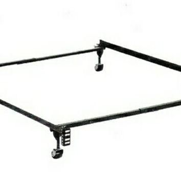 Twin / Full size supreme atlas-lock bed frame with rug rollers with headboard attachme
