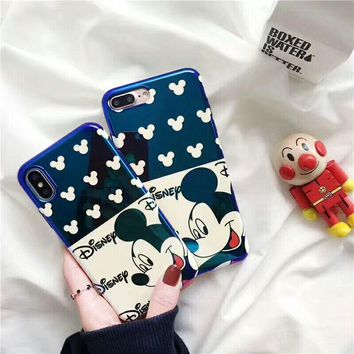 Blue Light Animal Cartoon Mickey Case For iPhone 6 6s 7 8 Plus Fancy Soft TPU Shockproof Back Cover For iPhone X 7 7 Plus Coque