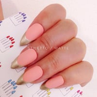 Stiletto, 12pcs, Coral Peach + Gold French Shabby Chic Hand Painted False Nail Tips / Press On / Stick On - Glossy or Matte