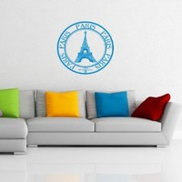 Wall Vinyl Decals Travel Trip Seal Stamp FRANCE Paris The Eiffel Tower Sticker Art Home Modern Stylish Interior Decor for Any Room Housewares Murals Design Window Graphic Bedroom Living Room (2551)