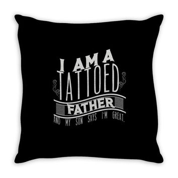 tattooed dad Throw Pillow
