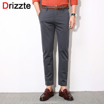 Men Stretch Ankle Length Pants Work Slim Dress Pants Business Trousers Black Blue Grey