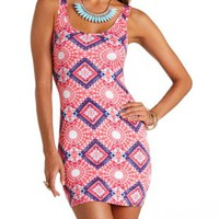Cage-Back Aztec Print Bodycon Dress by Charlotte Russe - Coral