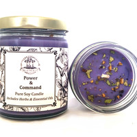 Power & Command Soy Spell Candle for Hoodoo Voodoo Wiccan & Pagan Rituals