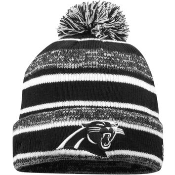 Mens Carolina Panthers New Era Black/White Sport Knit Cuffed Hat