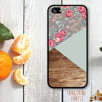 Lovely Gray Floral Geometric Wood Case. iPhone 4 // 4s // 5 // 5s // 5c