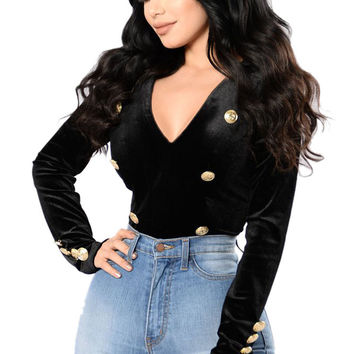 Gold Sailor Button Detail Black Velvet Bodysuit