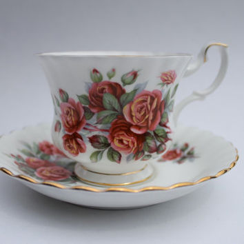 Vintage Royal Albert Centennial Rose Bone China Tea Cup & Saucer