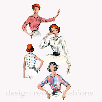 1950s Classic Evening Party Cocktail Day Blouse Shirt Yoked Back, French Cuffs, Butterick 8097 UNCUT Vintage Sewing Pattern BUST 34