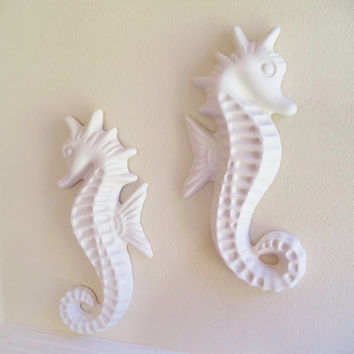 Large seahorse wall decor, beachy decor, nautical art, seahorse sculptures, pair of seahorses