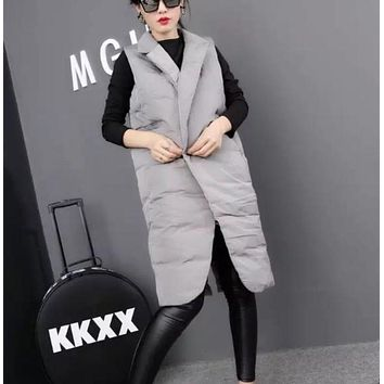 Womens Double Breasted Long Winter Vest