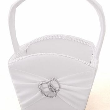 White Matte Satin Flower Girl Basket with Entwined Wedding Bands