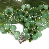 Green Aventurine and Olive Luster Beaded Bracelet