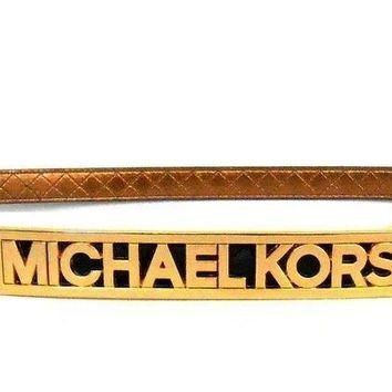 Michael Kors Mk Logo Quilted Skinny Belt Black Size Large