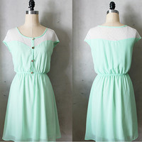 Mint green chiffon dress with ivory cream lace inset