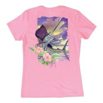 Academy - Guy Harvey Women's Hibiscus Dawn Print Graphic T-shirt