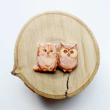 Owl and Cat Animal brooch owl brooch cat brooch Free shipping, gifts under 25
