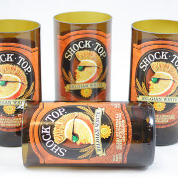 Shock Top Drinking Glasses Upcycled from Beer Bottles, 8 oz, Unique Barware, Unique Gift, ONE glass