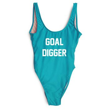 GOAL DIGGER - Women's Sexy Funny One-Piece Swimwear - High-Cut Legs