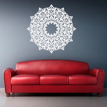 Wall Decal Vinyl  Mural Sticker Art Decor Bedroom Dorm Kitchen Ceiling Mandala Menhdi Flower Pattern Ornament Om Indian Hindu Buddha (z2825)