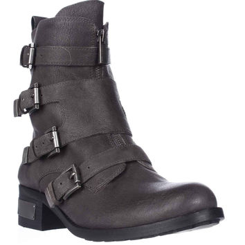 Vince Camuto Wesli Buckle Straps Motorcycle Boots - Davys Gray