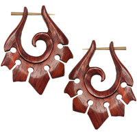 Hand Carved Organic Sono Wood Tribal Hanger Earrings | Body Candy Body Jewelry