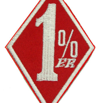1 % White and Red Iron on Small Badge Patch for Biker Vest SB876
