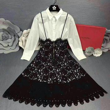 VLXZGW7 Valentino' Women Temperament Fashion  Solid Color Long Sleeve Shirt Stitching Lace Back Strap High Waist Dress
