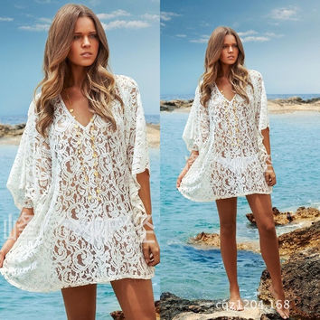 Women Sexy White Crochet Lace Hollow Beach Mini Dress Bikini Swim Cover Up Tops Blouse (Color: White) = 1956308420