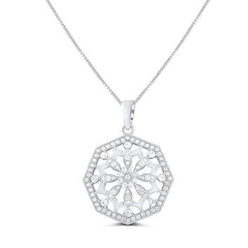 """Sterling Silver Cz filigree Flower of Life Necklace 18"""""""