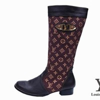 LV Louis Vuitton Women Fashion Leather High Boot Low Heels Shoes F