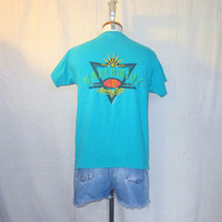 Vintage 1993 OCEAN PACIFIC SURF Beach Graphic Medium Classic Hawaii Cotton T-Shirt