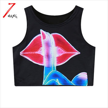 2016 summer women cotton punk fashion cartoon mouth print harajuku short slim stretchy tank top